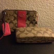 Coach Brown Signature Print Wristlet & Matching Glasses Case Photo