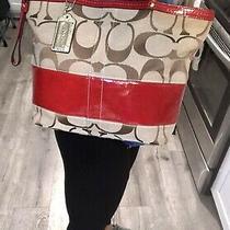 Coach Brown Signature Red Stripe Jacquard Shoulder Zip Tote Bag Handbag Purse Photo