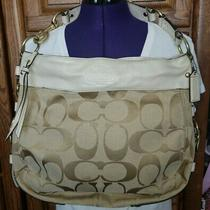 Coach  Brown Signature Zoe Khaki Jacquard & Ivory Leather Tote Bag M0868 -12674 Photo
