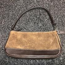 Coach Brown Suede & Leather Clutch Handbag F3s-7753 Vintage Photo