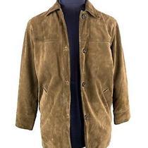 Coach Brown Suede Leather Jacket Mens Size S Button Closure Car Coat Photo