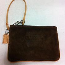 Coach Brown Suede Wristlet Wallet Pouch Photo