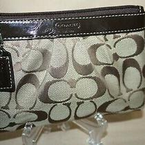 Coach Browntan Pleated Signature Canvas W/ Leather Trim Wristlet  F43434  Nwots Photo