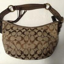 Coach Brown/tan Signature Logo Small Shoulder Bag Python Authentic F05q-8k36 Photo