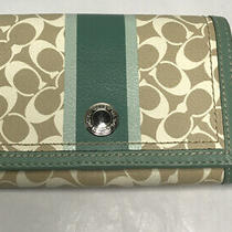 Coach Brown & Teal Signature C Leather Trifold Wallet Snap Button Closure Photo