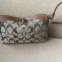 Coach Brown Turn Lock  C Jacquard Wristlet Wallet Photo