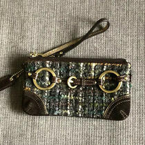 Coach Brown Tweed Wristlet Zip Closure With Gold Hardware Photo