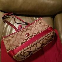 Coach Brown W/burgundy Stripe Large Multi Function Tote Handbag Purse Diaper Bag Photo