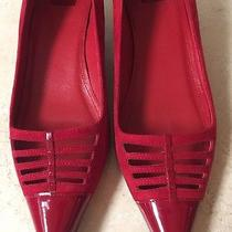 Coach Bryn Red Suede Kitten Heel Holiday Shoes Size 8 Super Rare Photo