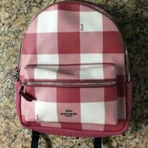 Coach Buffalo Plaid Med Charlie Backpack Strawberry/pink New York Photo