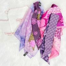 Coach Bundle of 4 Silk Bag Scarves W 2 Dust Bags Pink and Purple Printed Pattern Photo