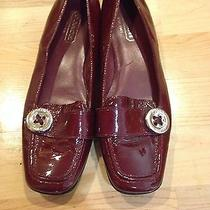 Coach Burgundy Patent Leather Loafers Like New Free Shipping Photo