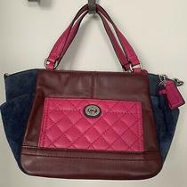 Coach Burgundy Pink Quilted Leather and Blue Suede F24693 Multicolor Leather Photo
