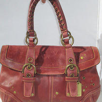 Coach Burgundy Wine Distressed Grommet Studded Leather Hobo Purse Bag 9642 Photo