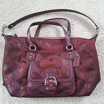 Coach Burgundy Wine Metallic Tote - Nwot Photo