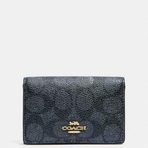 Coach Business Card Case in Signature Canvas 33068 Charcoal/midnight Navy 85 Photo