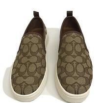 Coach C115 Slip on Sneakers Khaki/chestnut Size 8.5 New Photo