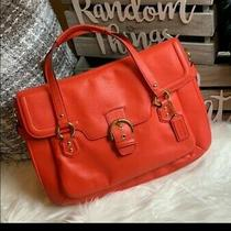 Coach Campbell Bag Large Hot Orange Salmon Leather Eva Satchel  Photo