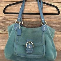 Coach Campbell Bell Teal Blue Suede/leather Carryall Tote Handbag Purse F24688 Photo