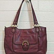 Coach Campbell Belle Bordeaux Leather Carryall N. F24961 Shoulder Bag Purse Photo
