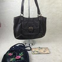 Coach Campbell Belle Carryall Brown W/rebbecca Taylor Pastel Clutch Wallet Photo