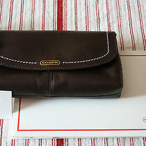 Coach Campbell F50183 Mahogany Leather Large Wristlet Wallet Clutch Handbag Photo
