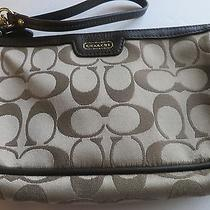 Coach Campbell Khaki Mahogany Brown Signature Large Wristlet Wallet  Bag F51111 Photo