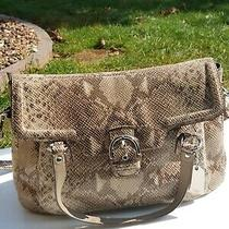 Coach Campbell Large Eva Exotic Python Snakeskin Beige Brown Shoulder & Handles Photo