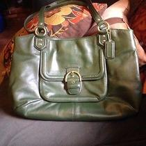 Coach Campbell Leather Belle Carryall Purse Handbag F24961 Dark Green Photo