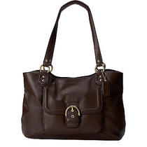 Coach Campbell Leather Belle Womens Carryall Bag in Brass Mahogany Brown Photo