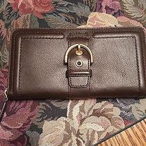 Coach Campbell Leather Buckle Accordian Zip Wallet Nwt Mahogany F50011 Photo