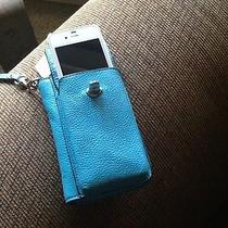 Coach Campbell Leather Cell Phone Wallet - F50070 - Silver/turquoise - Nwt Photo