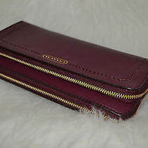 Coach Campbell Leather Double Accordion Zip Wallet Wrist Strap F50075 Photo