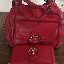 Coach Campbell Leather Hobo Shoulder Purse F24686 Red- Rare W/matching Wallet Photo