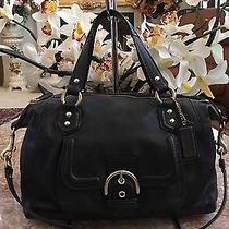 Coach Campbell Leather Satchel Convertible Bag Purse F24690 Black 378 -Rare Photo