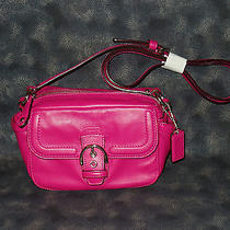 Coach Campbell Leather Shoulder Bag Small Camera Bag Cross Body Fuchsia F25150 Photo