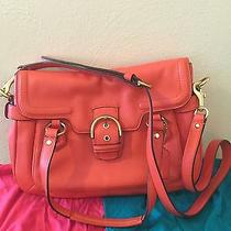 Coach Campbell Leather Small Flap Satchel Bag Orange F27231 Photo