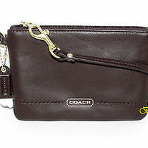 Coach Campbell Leather Small Wristlet Mahogany F50078 68 Nwt Photo