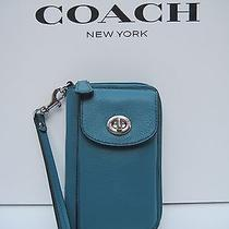 Coach Campbell Leather Zip Wallet Wristlet Cell Phone Case With Free Shipping Photo