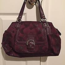 Coach Campbell Metallic Satchel Burgundy  Photo