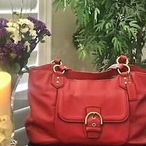 Coach Campbell Red Leather Belle Carryall Shoulder Bag F24961 Photo