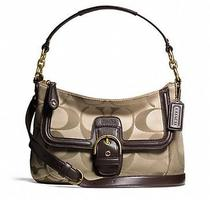 Coach Campbell Signature  Convertible Hobo in Khaki/mahogany  F25289 Photo