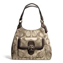 Coach Campbell Signature Hobo in Brass Khaki and Mahogany Leather Trim 378.00 Photo