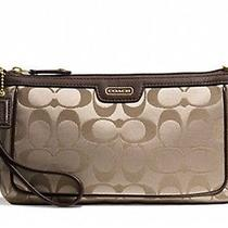 Coach Campbell Signature Large Wristlet 51111 Brass Khaki Mahogany New Photo