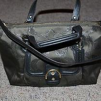 Coach Campbell Signature Moss Green Metallic Satchel    Photo