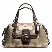 Coach Campbell Signature Satchel Bag (F24741) Khaki/mahogany Authentic Nwt Photo