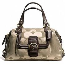 Coach Campbell Signature Satchel Purse    Khaki/mahogany F24741 Sateen Leather  Photo