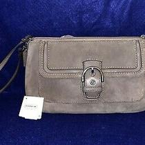 Coach Campbell Suede Buckle Flap Zip Clutch 10