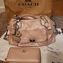 Coach Campbell Turn Lock Leather Satchel Shoulder Bag in Blush Wallet F25508 Photo