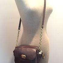 Coach Campbell Turnlock Leather Camera Bag Plum Nwt F24843 Photo